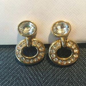 Vintage Susan Caplan Swarovski Gold Earrings
